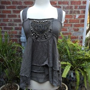 Free People layered top with beaded detail